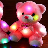 Светящийся мишка, 22 см. мягкий плюшевий мишка для подарка розовый