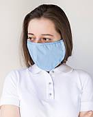 Медична багаторазова двошарова блакитна маска