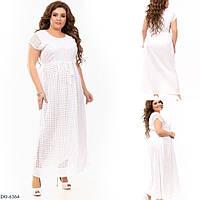 Платье женское батальное длинное индия коттон DO-6364 Белый