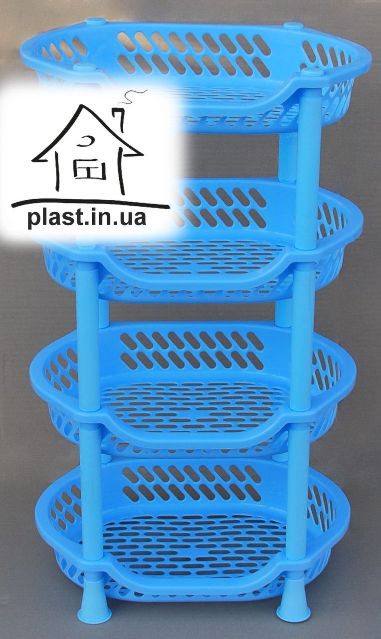 Етажерка пластикова овальна (блакитна)
