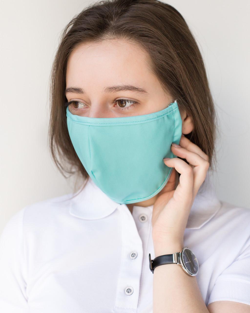 Медицинская многоразовая двухслойная маска мята