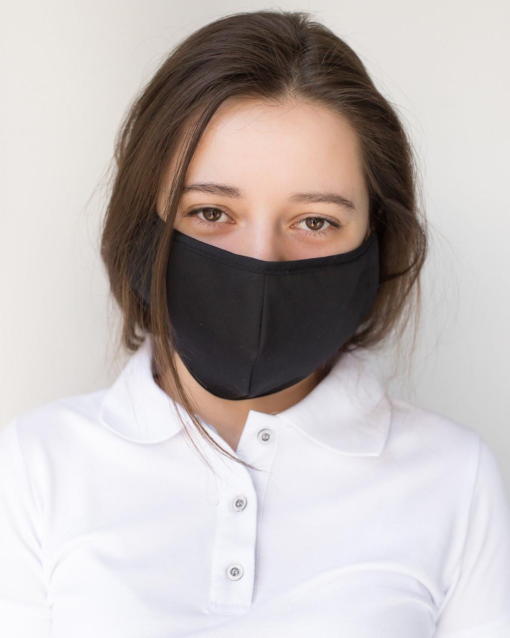 Медицинская многоразовая двухслойная маска черная