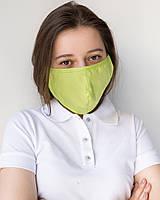 Медицинская многоразовая двухслойная маска лайм, фото 1