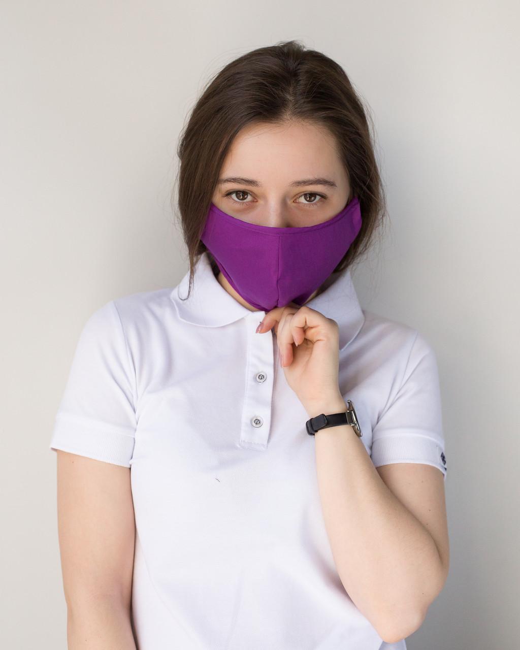 Медицинская многоразовая двухслойная маска фиолетовая