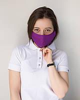 Медицинская многоразовая двухслойная маска фиолетовая, фото 1