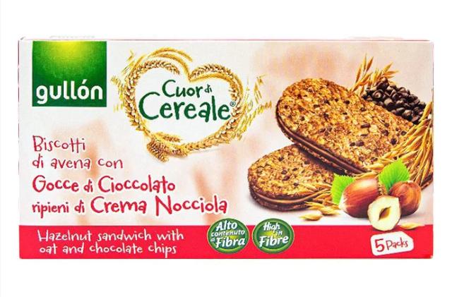 Печиво GULLON сендвічі Cuor di Cereale, вівсяні з горіховим кремом, 220г
