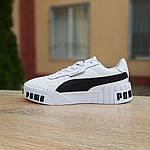 Женские кожаные кроссовки Puma Cali Bold (бело-черные) 20010, фото 5