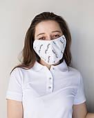 Медична багаторазова двошарова маска принт вії