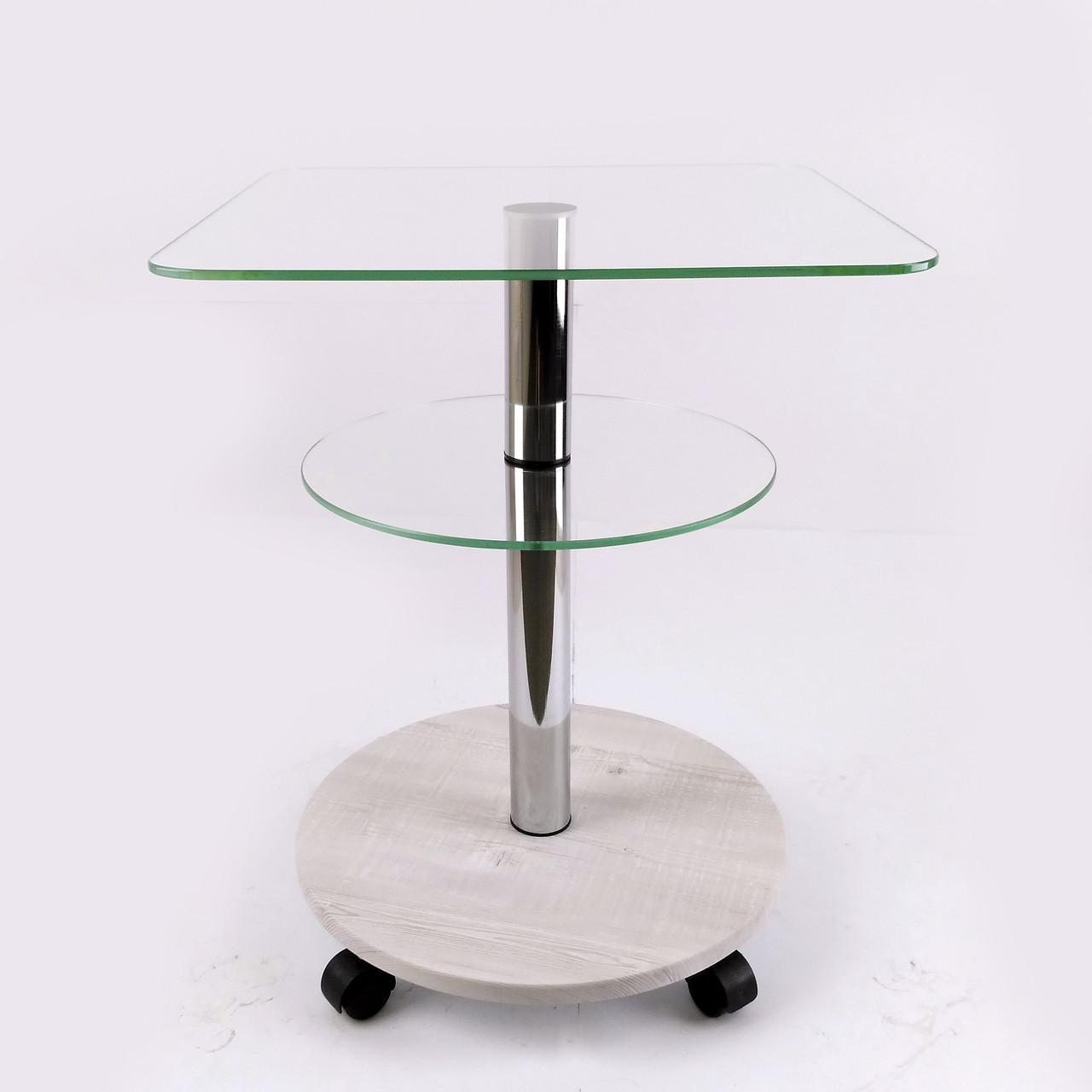 Стол журнальный стекло квадратный Commus Bravo Light400 Kv6 clear-sosnak-chr50