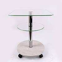 Стол журнальный стекло квадратный Commus Bravo Light400 Kv6 clear-sosnak-chr50, фото 1