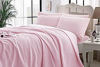 Комплект постельного белья с пике TAC Iglo Pink  евро / простынь на резинке