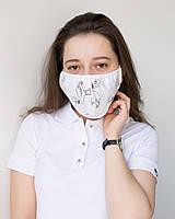 Медична багаторазова двошарова маска принт фламінго чорні