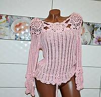 Нарядная розовая вязанная женская кофта с ажурным узором, размер S- М