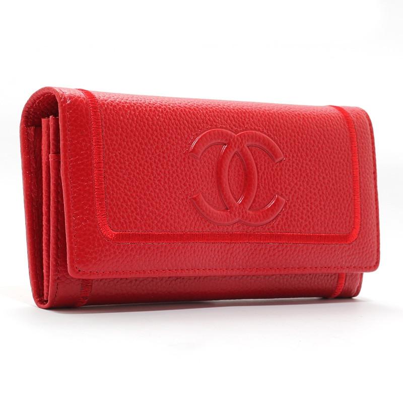 Кошелек кожаный женский на кнопке красный 9303