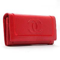 Кошелек кожаный женский на кнопке красный 9303, фото 1