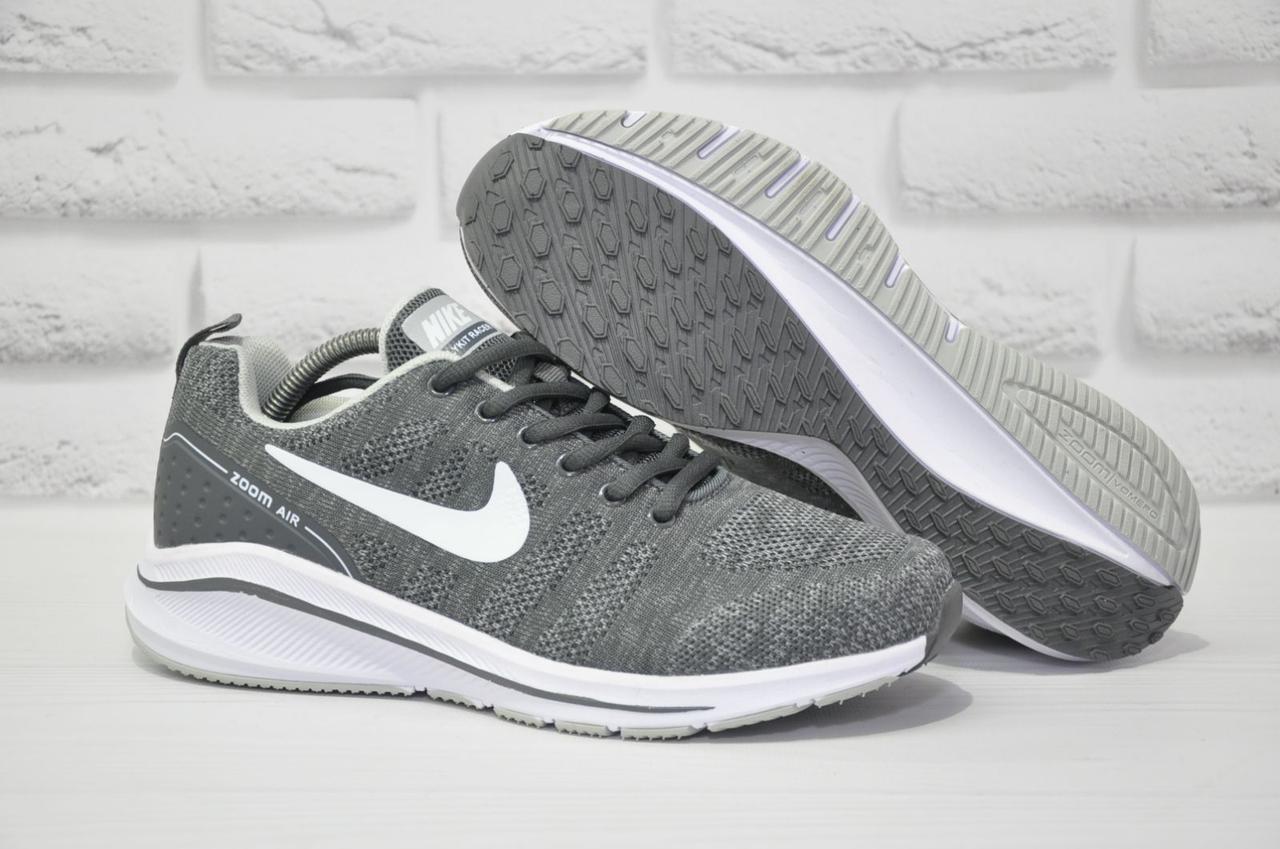 Мужские летние кроссовки сетка серые в стиле Nike Air Zoom
