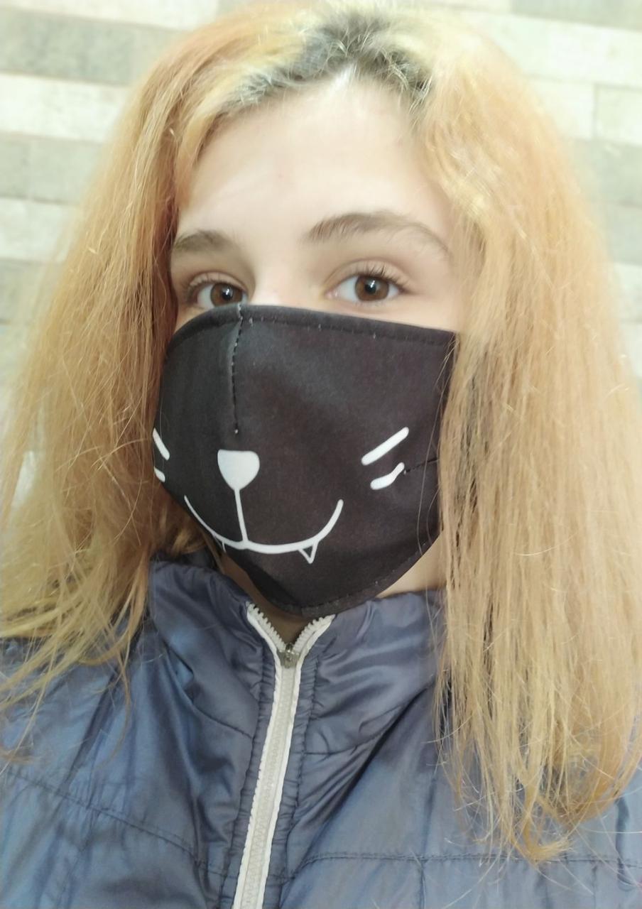 Защитная маска для лица тканевая многоразовая Кот