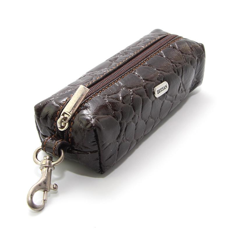Чехол для ключей ключница на змейке с карабином коричневая Desisan 207-19