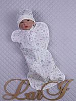 """Европеленка кокон с шапочкой """"BABY"""" для новорожденного малыша. Белый"""