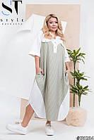 Платье свободное большого размера лён 52-54 56-58 60-62 64-66