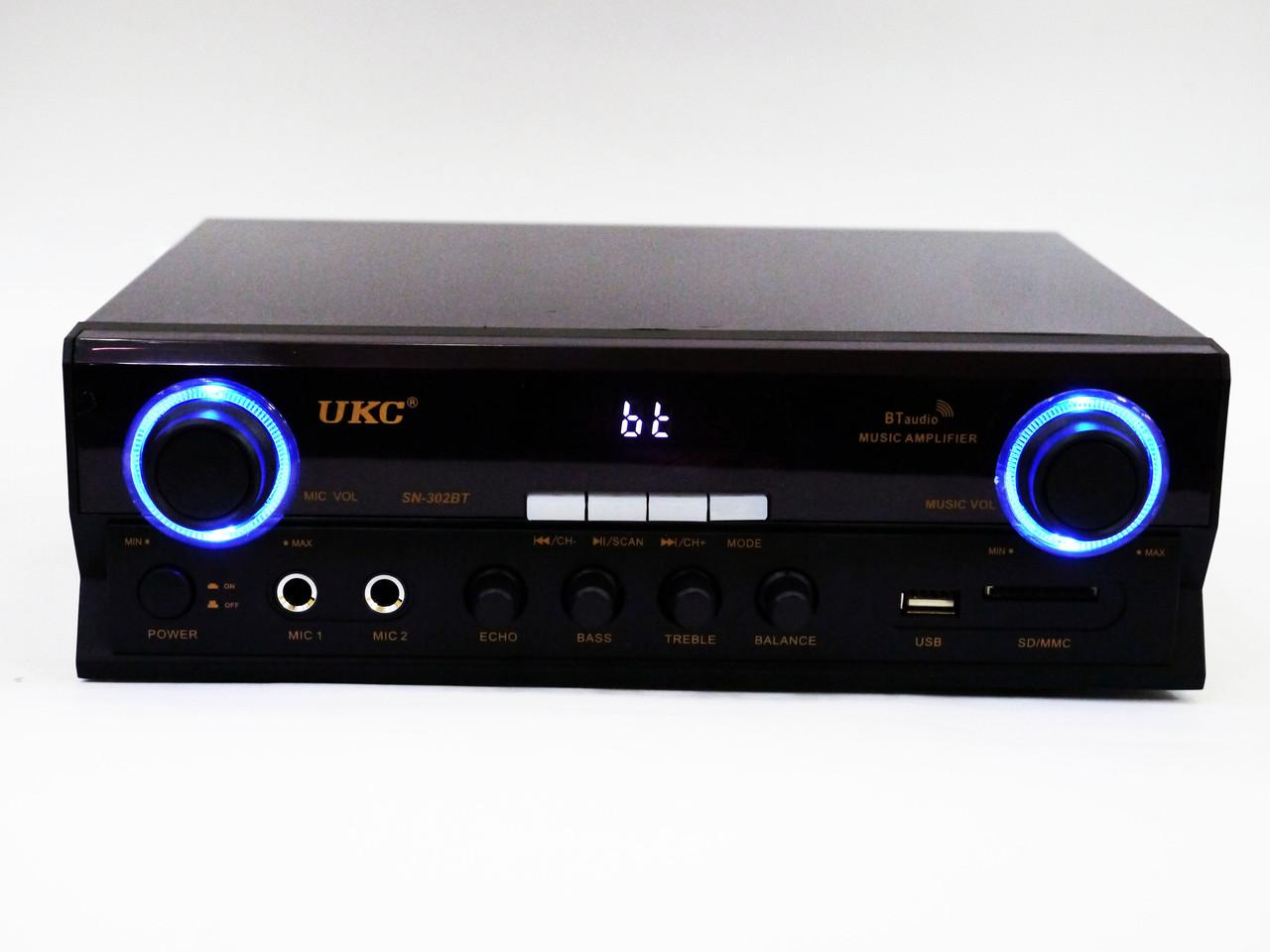Усилитель UKC SN-302BT - Bluetooth, USB,SD,FM,MP3! Караоке 2х канальный 500W