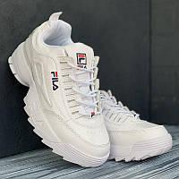 Женские кроссовки белые Фила Дисраптор Filla Disruptor White