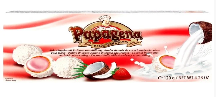 Вафельні кульки PAPAGENA, з Суничним кремом, 120г