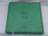 Люк канализационный квадратный зелёный 650 мм*650 мм с запорным механизмом