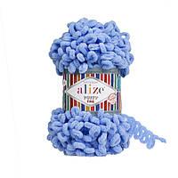 Турецкая фантазийная пряжа Puffy fine Alize голубого цвета 112