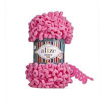 Турецкая фантазийная пряжа Puffy fine Alize 121 розовый леденец
