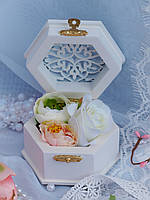 Свадебная шкатулка для колец шестигранная