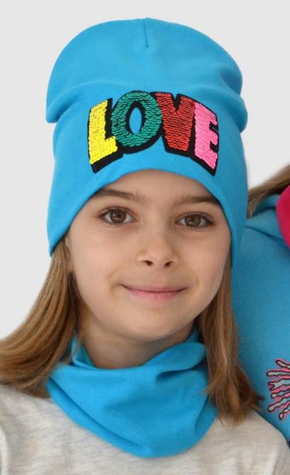 Всесенний комплект с пайетками на девочки шапки и хомут