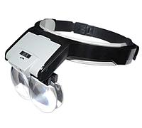 Лупа-окуляри бінокулярні MG81001-B (1.7 X, 2X, 2.5 X 3.5 X) зі світлодіодним підсвічуванням, фото 1