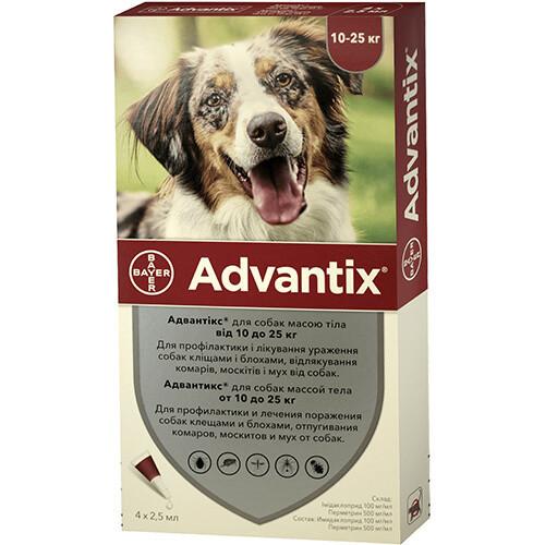 Капли от блох и клещей Bayer Advantix для собак весом 10-25 кг, цена за 1 пипетку
