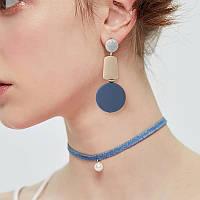 Модні дерев яні жіночі сережки висячі голубі