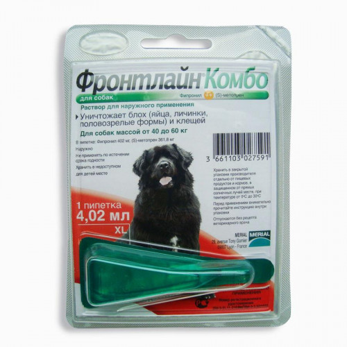 Капли Boehringer Ingelheim Фронтлайн Комбо от блох и клещей для собак, XL, 40-60 кг