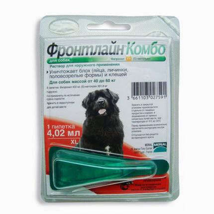Капли Boehringer Ingelheim Фронтлайн Комбо от блох и клещей для собак, XL, 40-60 кг, фото 2