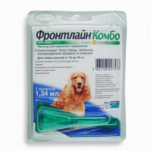 Капли Boehringer Ingelheim Фронтлайн Комбо от блох и клещей для собак, M, 10-20 кг