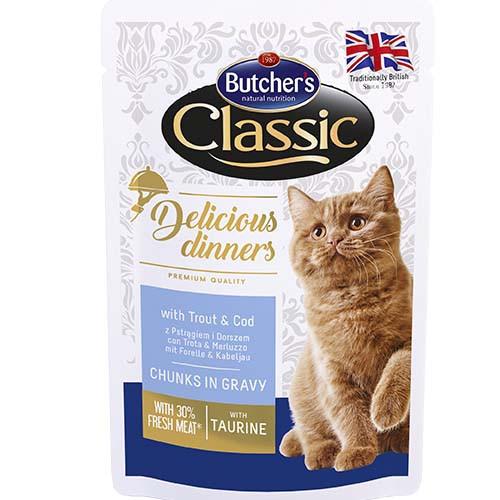 Влажный корм Butcher's Cat Delicious для кошек, с форелью и треской, пауч, 100 г