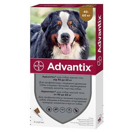 Краплі від бліх і кліщів Advantix Bayer для собак вагою 40-60 кг, ціна за 1 піпетку, фото 2