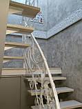 Різьблені огорожі сходів, перила для сходів з МДФ 033 квітка, фото 2