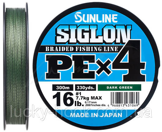 Шнур Sunline Siglon PE х4 150m (темн-зел.) #0.5/0.121mm 8lb/3.3kg, фото 2