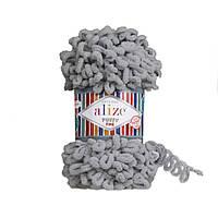 Турецкая фантазийная пряжа Puffy fine Alize угольно серый 343