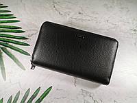 Мужской кошелек, барсетка из натуральной кожи черный, портмоне Cardinal