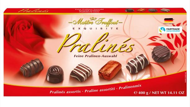 Цукерки Maitre Truffout, асорті праліне червоні, 400г
