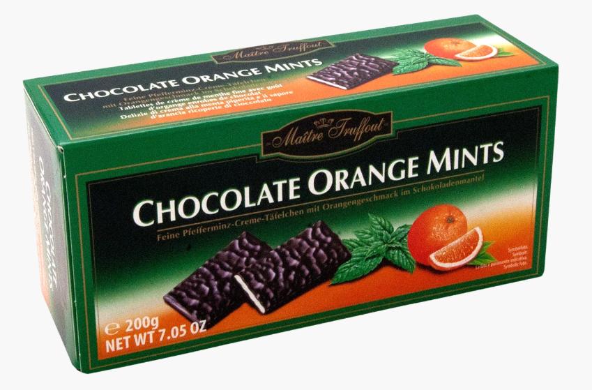 ВидалЦукерки Maitre Truffout, CHOCOLATE ORANGE MINTS, з чорного шок та м'ятою/апельсином, 200г