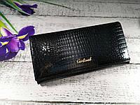 Женский кошелек из натуральной кожи черный, портмоне Cardinal