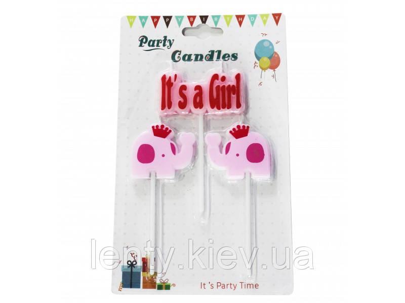 """Набір Свічки для торта рожеві на паличці слоники """"Baby Shower"""" (3 штуки) Гендер паті"""