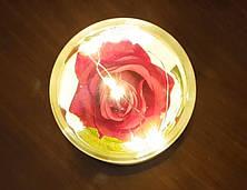Роза в колбе с LED маленькая (Красная, розовая, синяя), фото 3