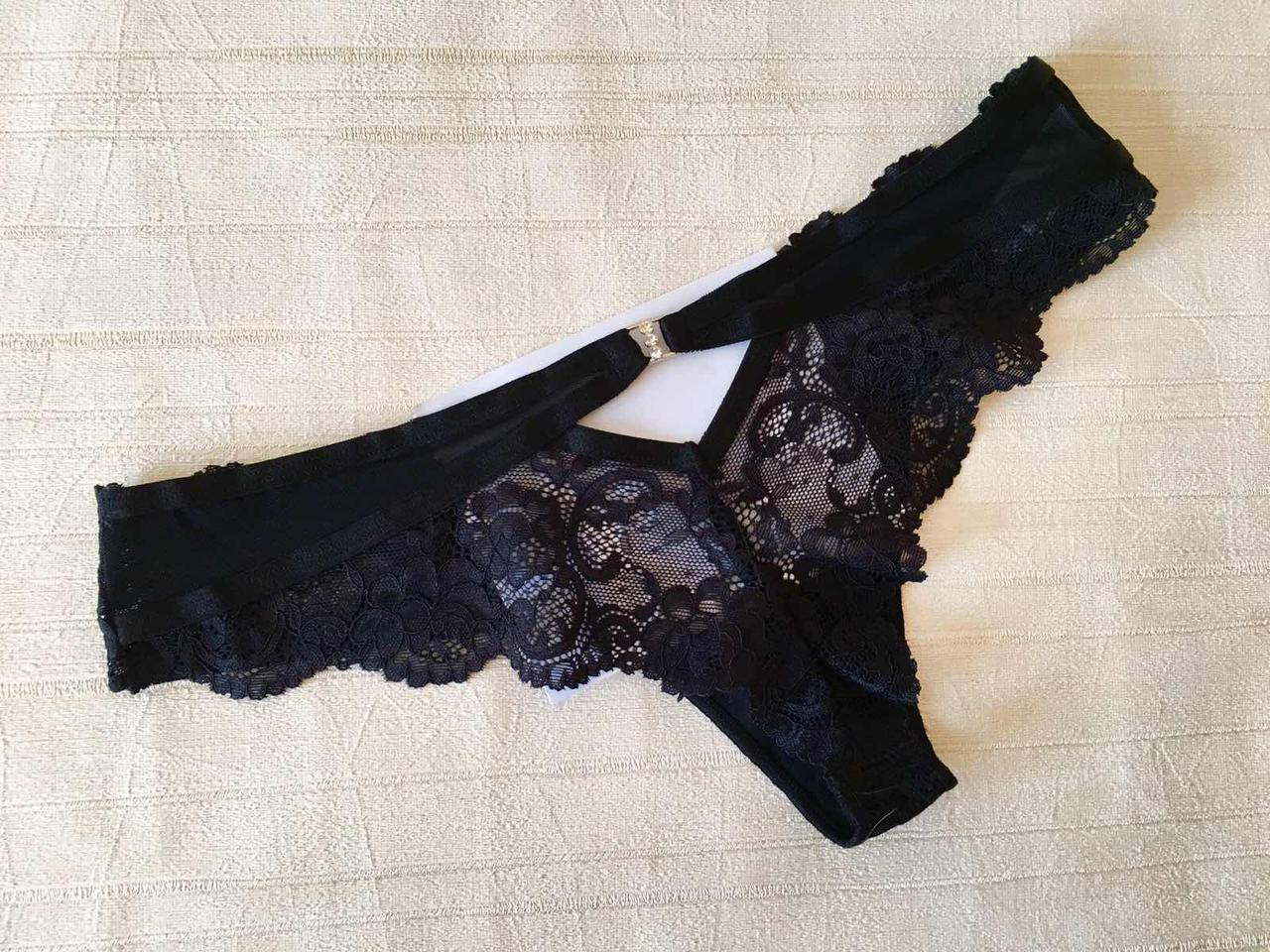 Черные кружевные трусики женские